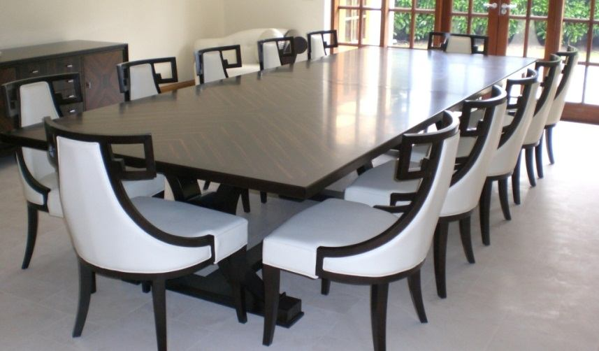 Complete Your Special Family Gathering Moment in this  : luxurious white dining chairs design with black wooden frame for 12 person wooden square dining table in open plan room from homesfeed.com size 857 x 502 jpeg 52kB