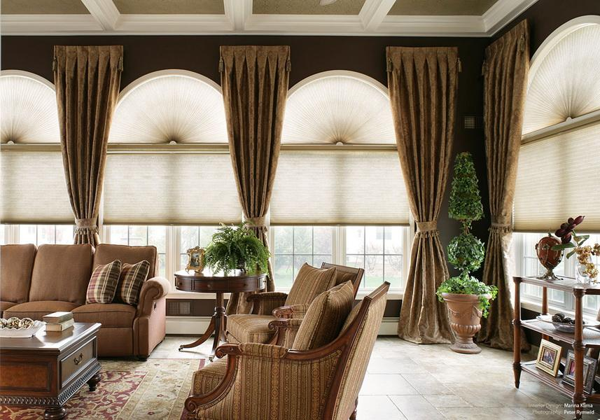 Luxury Living Room With Classy Window Coverings For Large Casement Windows  Together With Comfy Brown Sofa Part 98
