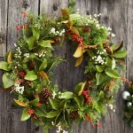 magnolia pottery barn wreaths with leaves and berry plus pinecones for home decoration