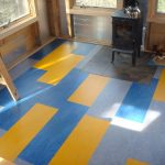 marmoleum flooring idea in yellow and blue tone colors