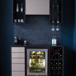 mini wine bar in modern style with black and white wine storage systems