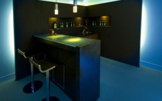 minimalist mini bar in black theme with minimalist barstools built in shelves for storing wine two minimalist pendant lamps