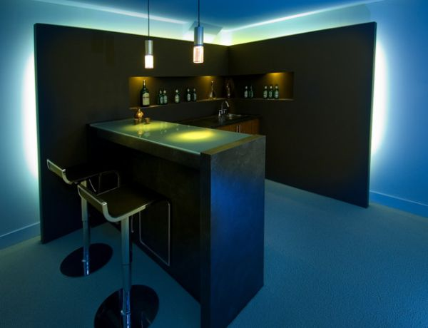 minimalist mini bar in black theme with minimalist barstools built in shelves for storing wine two minimalist pendant lamps - 14+ Residential Modern Home Bar Designs For Small Spaces Gif