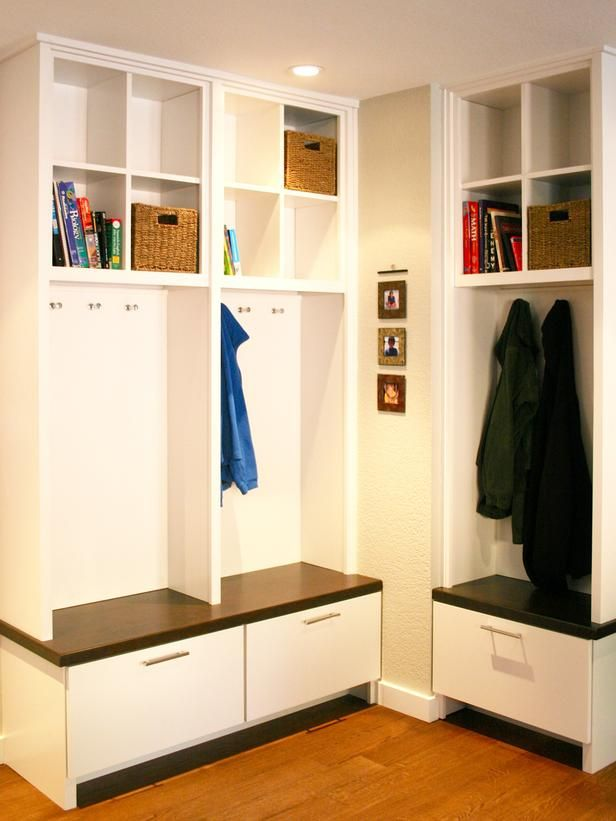 Genial Minimalist Mudroom Storage Units In White With Shelves For Books And  Hanging Jacket And Wooden Laminate