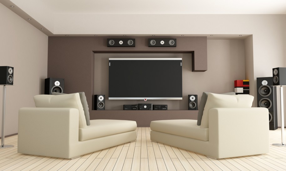 minimalist private home theater with minimalist white sofas and their decorative pillows large flat screen mounted - Home Theater Designers