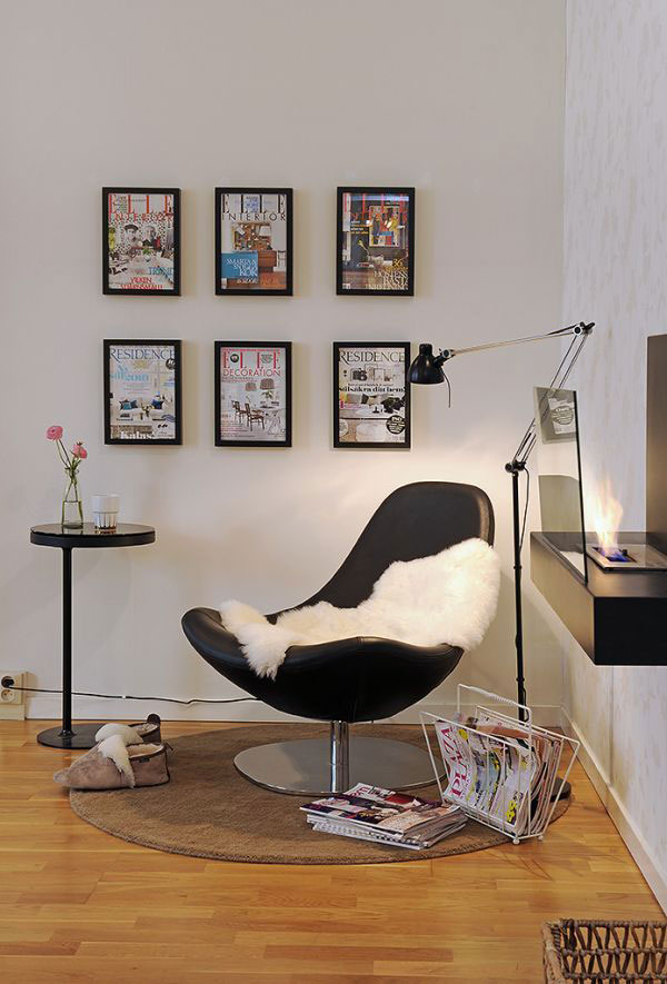 Modern And Comfortable Chairs For Reading With Soft Blanket Magazine Rack Brown Rug Plus