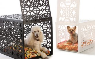 modern and creative black metal fancy dog crate design with slapped door with carved surface in white and black