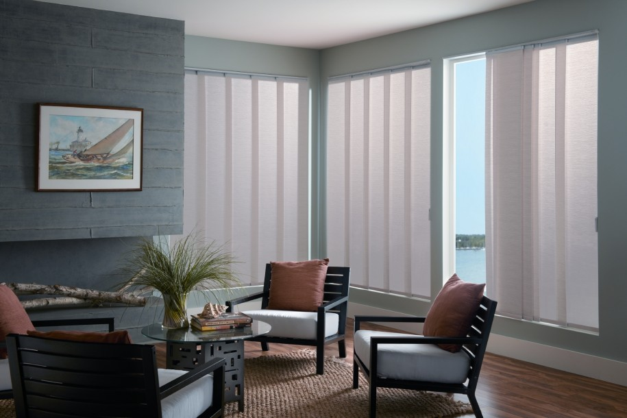 Modern And Simple Window Covering For Sliding Glass Door With Vertical Blinds In Living Room