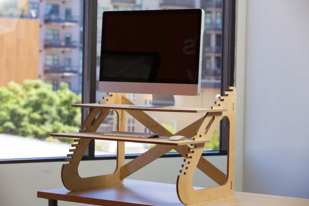 Modern And Stunning Standing Desk Design With Unique Shape Of Sungles Texture Double Racks