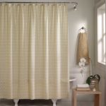 modern cream bed and bath beyond shower curtain design with curved rod aside wooden table with hanging napkin beneath glass window