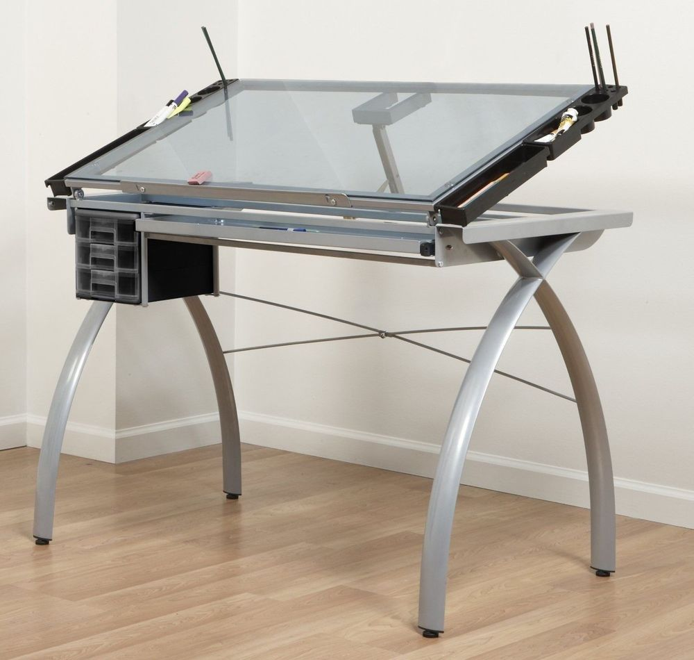 Modern Drafting Tables Ikea With Glass Top And Storage Underneath And Metal  Legs Plus Wooden Laminate