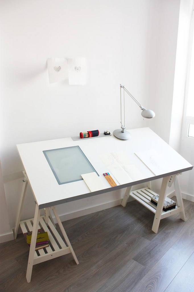 Modern Drawing Drafting Tables Ikea In White With Spot Light And Storage Underneath Plus Hardwood Flooring