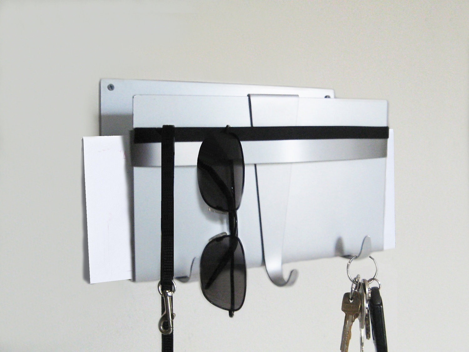 modern key holders for wall with metal key hooks and sunglasses plus mail  storage
