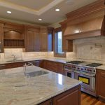 modern kitchen design with wooden cabinetry idea and modern kitchen set with white marble countertop ideaq