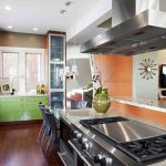 modern kitchen gas hibachi grill for home with oven and cabinets plus dining spce with black chairs and pendant lighting