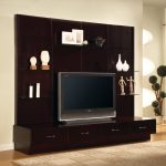 modern low profile media console with storage and glass mounted shelves beautified with artistic displays and photo frame plus modern rug and plan pot