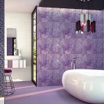 modern luxurious bathroom design with white bathtub beneath modern pendant with soft purple casa antica tile
