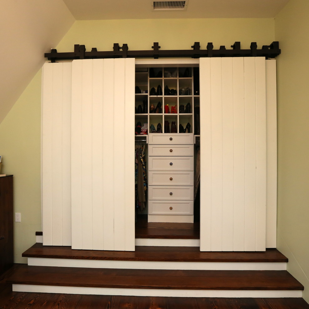 Modern Sliding Barn Doors For Closets With Wooden Chest Of Drawer And Shoes  Storage Plus Shelf