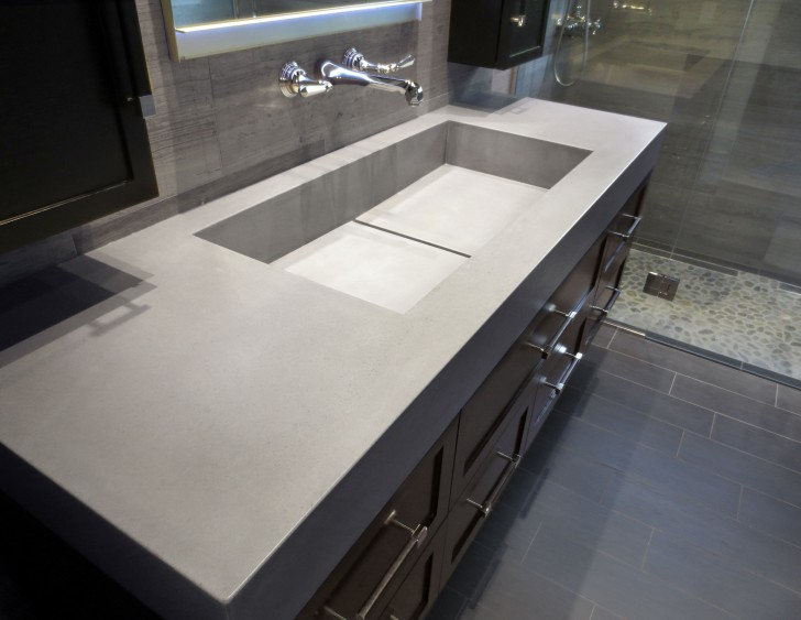 Trough sinks for efficient bathroom and kitchen ideas - One bathroom sink with two faucets ...