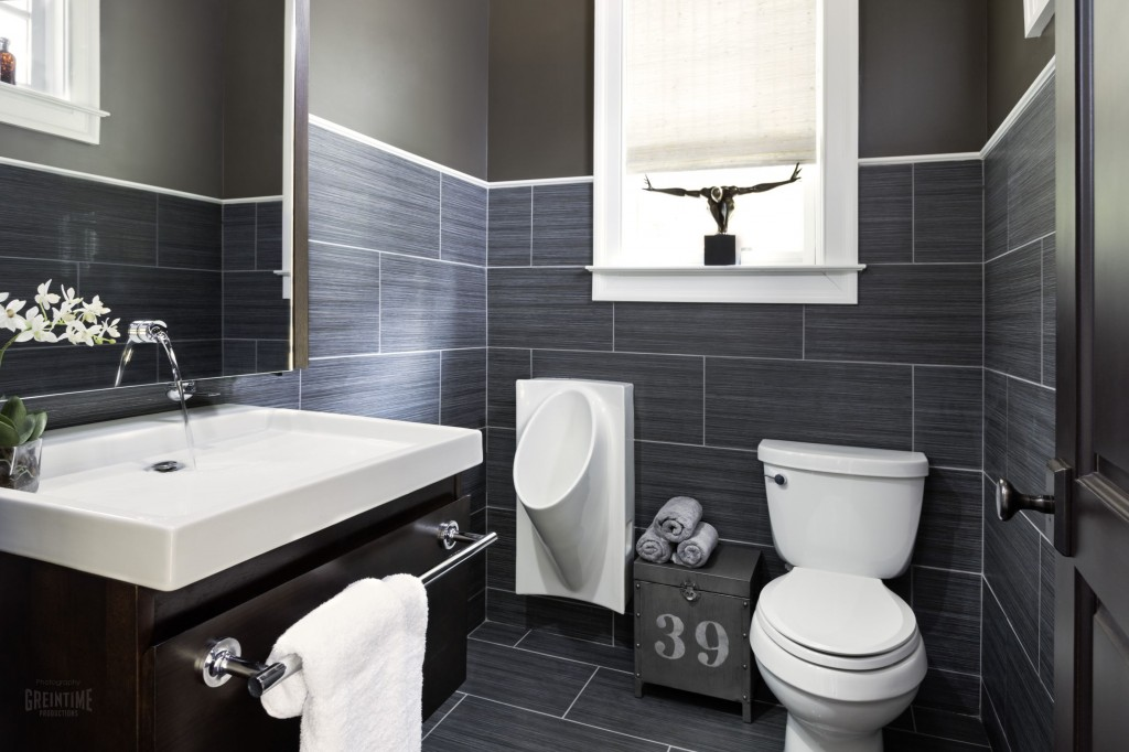 Modern White Residential Urinal In Menu0027s Bathroom With Grey Brick Pattern  Wall And Floor Plus Toilet
