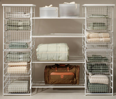 Movable Modern Linen Closet Design Made Of Wire Basket And Net With Racks  And Closed Slots