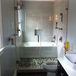 Narrow Bathtubs Together With Walk In Shower In Glass With Toilet And Bathroom Vanitu Units With Sink And Black Tile Floor For Small Bathroom Ideas