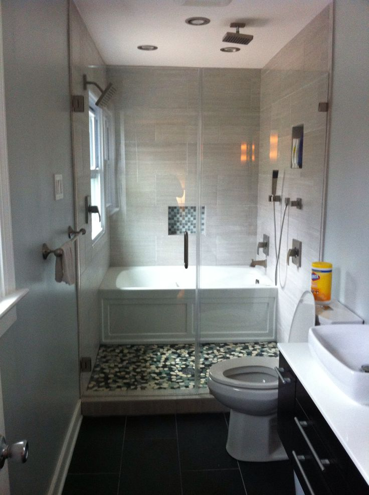 Narrow Bathtubs Together With Walk In Shower In Glass With Toilet And  Bathroom Vanitu Units With