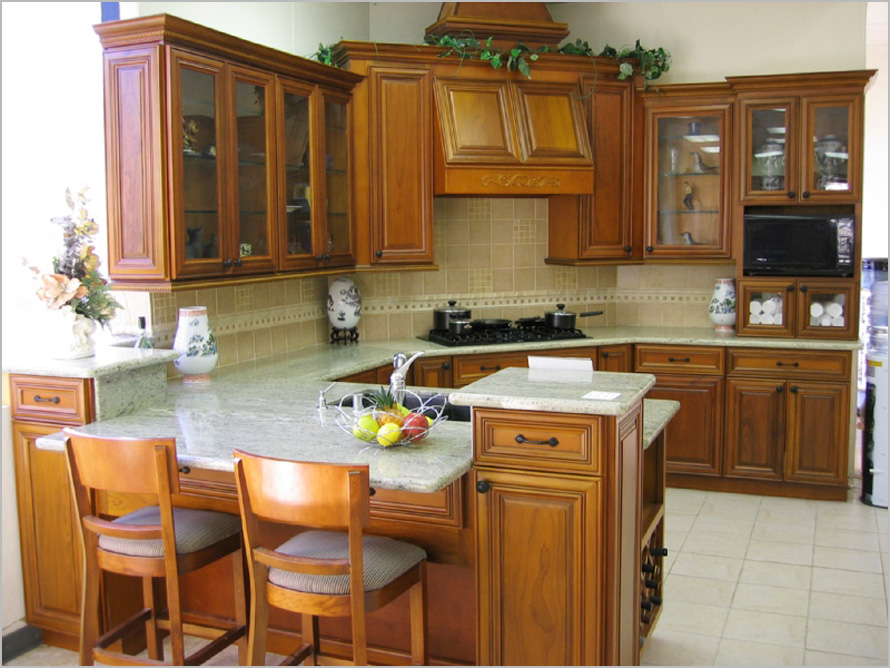 natural brown stained wood kitchen cabinets glass