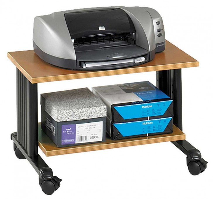 natural wooden printer stand from ikea with black metal accent with wheels with printer and paper stock