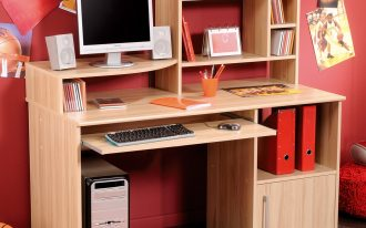 natural wooden student design design with plenty of storage idea with computer set beneath pink wall with various palette