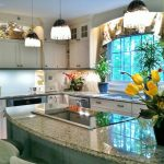 Nice Kitchen Remodeling Northern Va With White Kitchen Cabinets Together With Granite Countertop And Pretty Vase And Pendant Lamp Plus Comfy Island With Seats