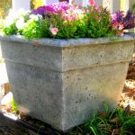 Outdoor Concrete Planter Boxes Design With Molding Pattern Texture With Purple Colorful Flower