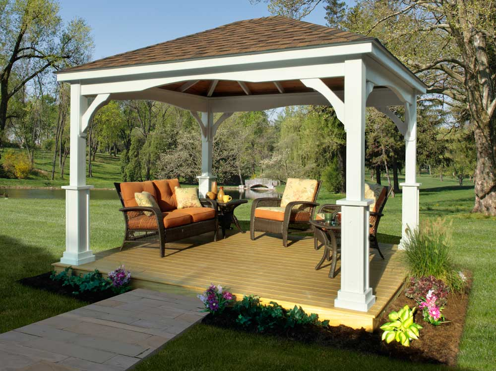 outdoor pavilion plans at the backyard with wooden floor and comfy