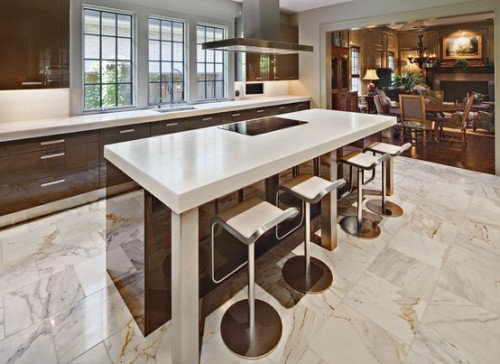 Best floor for kitchen design homesfeed for Stone kitchen floor ideas