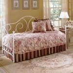 pictures of daybeds with beautiful bedding and metal bedframe plus decorative cushion and nightstand plus table lamp and modern rug