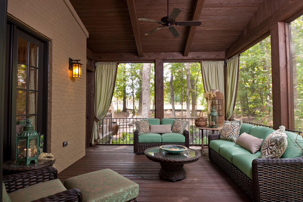 Pictures Of Screened In Porches Inside With Clear Glazing And Hardwood  Floor And Cool Sofa And