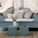 pictures of vintage daybeds in wooden with small table plus vase and modern rug with striped cushion s and wall scones plus wooden floor