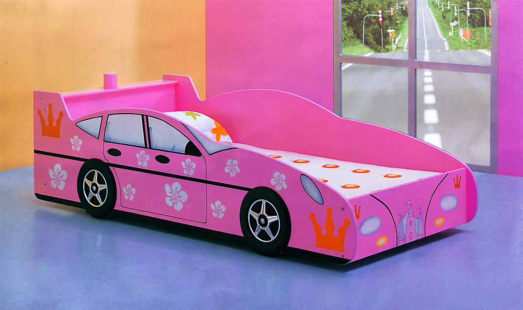 pink race car beds for toddlers and girl in wooden bed frame with girly bedding set