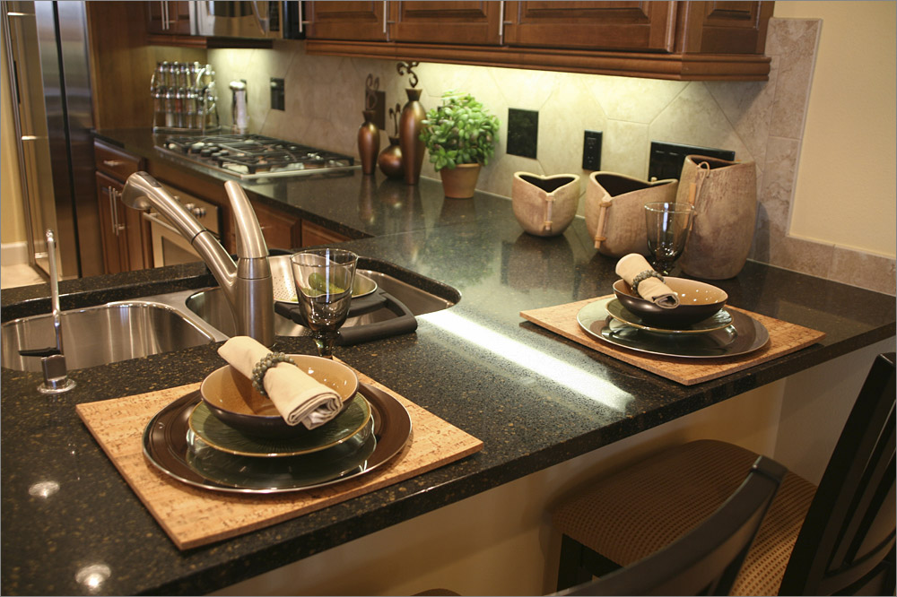 price of black galaxy granite countertops with kichen sink plus stylish dining set and kitchen island