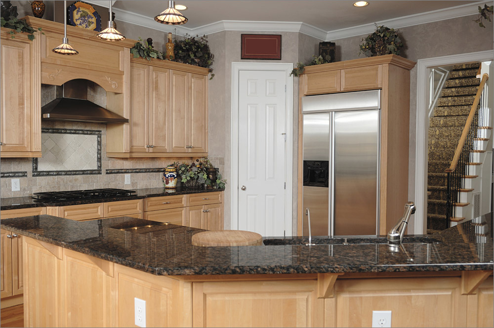 Superior Price Of Granite Countertops For Traditional Cream Wooden Kitchen Cabinets  And Sink Plus Tile Backsplash And