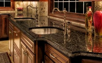 price of granite countertops in black plus sink with steel plus traditional wooden cabinets and pretty vase plus rug on tile for floor