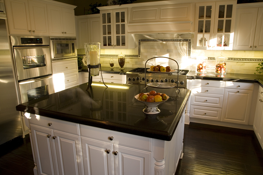 Charming Price Of Granite Countertops In Black With Wooden Cabinets And Impressive  Backsplash Plus Wooden Floor And