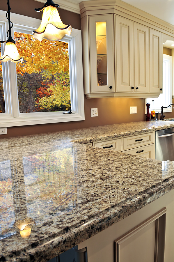 Price Of Granite Countertops With Stylish Motif Plus Pendant Lamp And Glass Window In Kitchen Plus