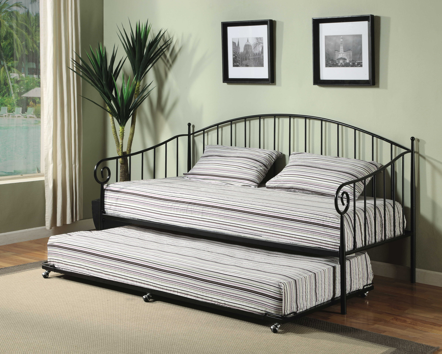 Queen Size Daybed Frame With Metal Frame And Double Stripped Bed And Pillow  Plus Rug On