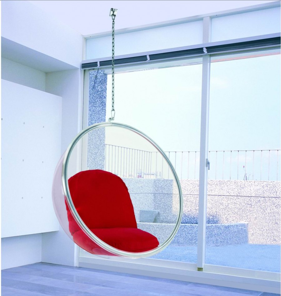 Red Bubble Eero Aarnio Chairs That Hang From The Ceiling From Glass In  Living Room With