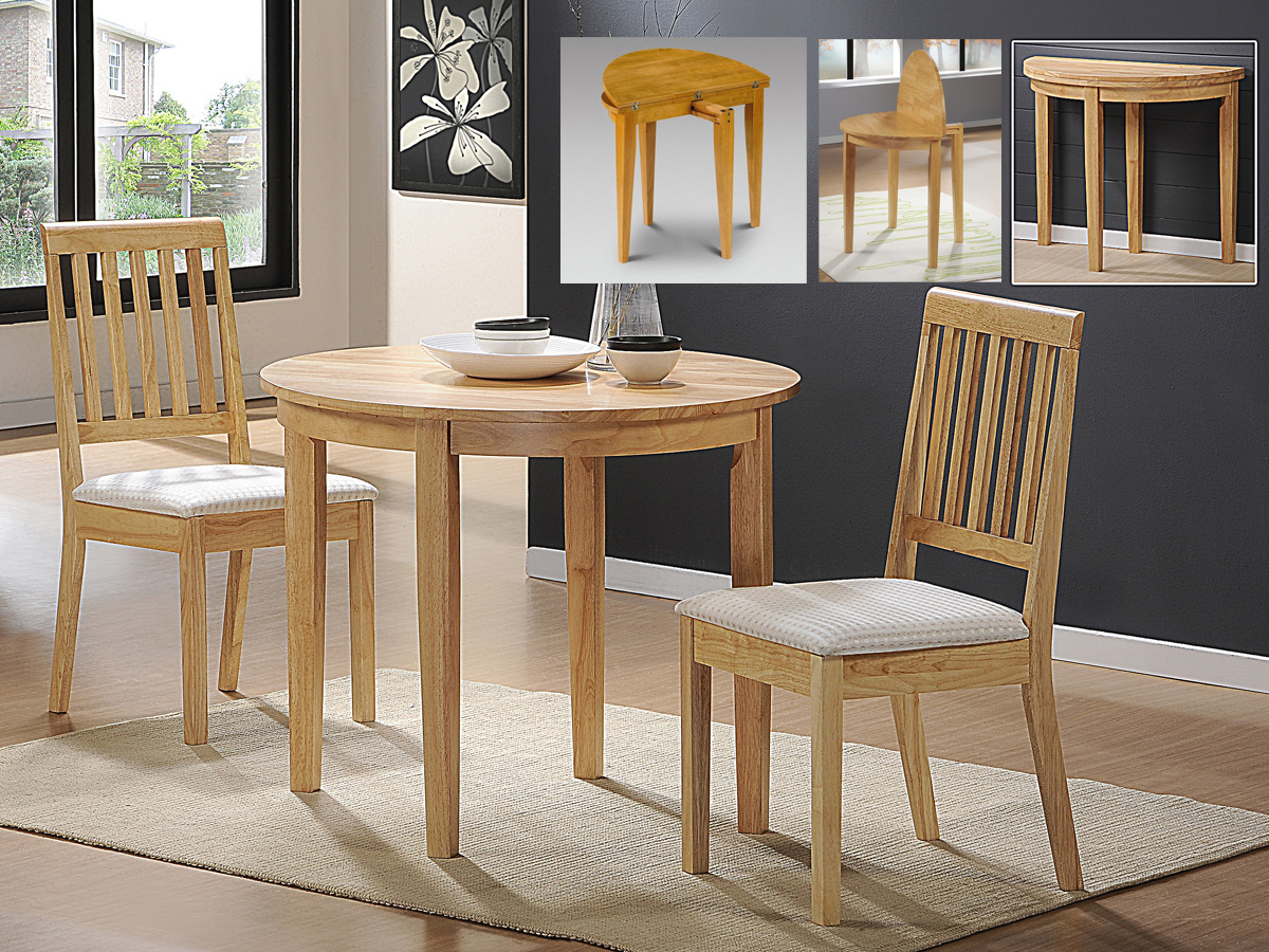 Compact dining space arrangement with drop leaf dining for Dining table with two leaves