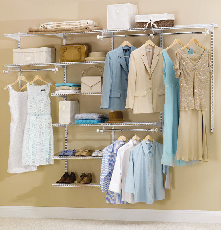 Rubbermaid Closet Organizer Ideas With Shelf With Steel Hanging Rod And  Shoes Plus Dresses And Shirt