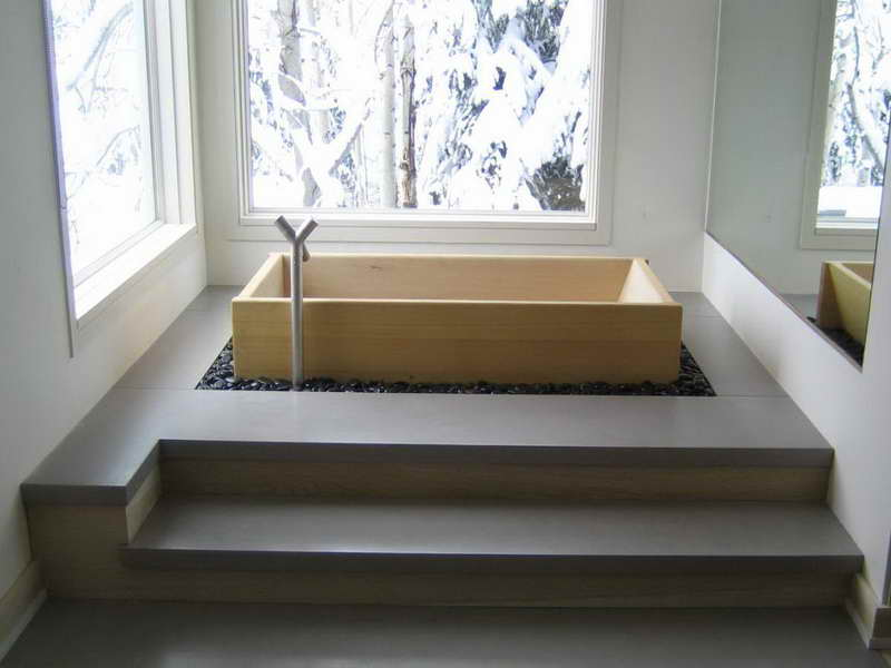 Rustic Japanese Soaking Tub Small In Wooden With Natural Stone Floor  Arrangement Plus Glass Windows For
