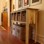 rustic wooden extra long console design with rattan storage addition beneath the countertop with drawers beneath wall photo gallery upon laminated wooden floor