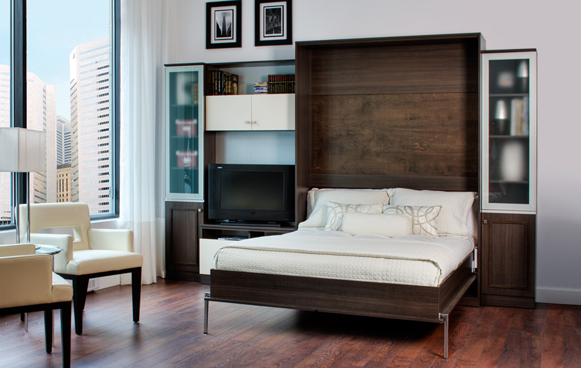 Attractive Rustic Wooden Fold Up Wall Bed Design With White Sheet Between Wall Storage  Design Aside Cream